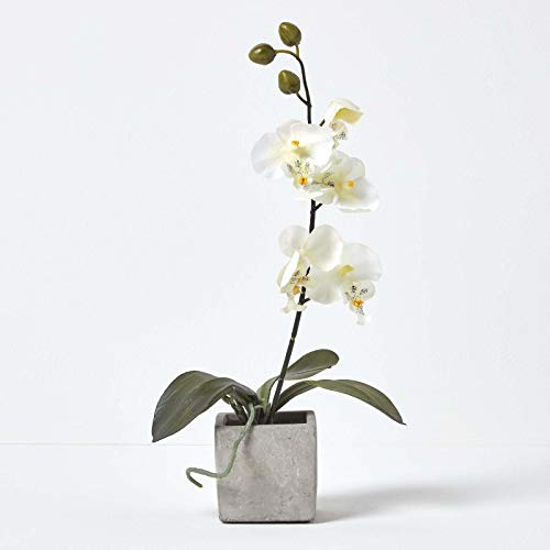 HOMESCAPES White Orchid in Stone Pot 40 cm - Artificial Orchid Flowers for Indoor & Outdoor Decoration