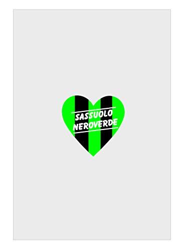 Tipolitografia Ghisleri Toallitas de baño, toalla de playa, toalla de playa, diseño de corazón, sasol negro y verde dividido para aficionados al fútbol. Dimensiones: 70 x 140 cm