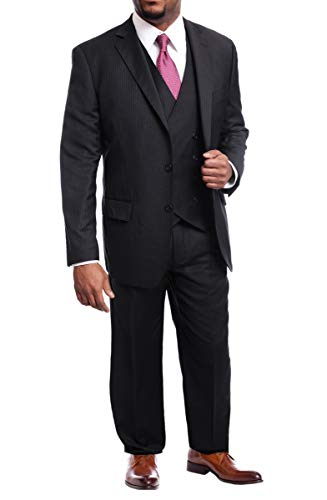 Arthur Black Men's Classic Fit Black Check Double Breasted Pleated Wool Suit