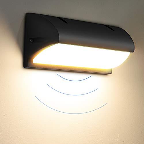 LED Wandleuchte Aussen 18W IP65 Außenwandleuchte mit Bewegungsmelder Aussenlampe LED 3000K Wandlampe mit Bewegungsmelder LED Wandbeleuchtung Innen/Außen(Runde)