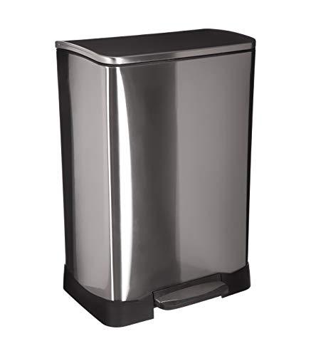Poubelle ovale - 50L - Acier inoxydable - Silver