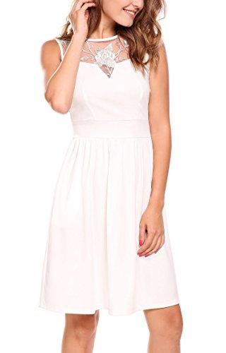 Meaneor Damen Spitze Kleid Damen Vintage Kleid Brautjungfernkleid 50er Rockabilly Rundhals