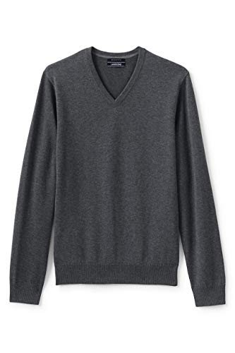 Lands' End Mens Supima V-Neck Sweater Charcoal Heather Regular X-Large