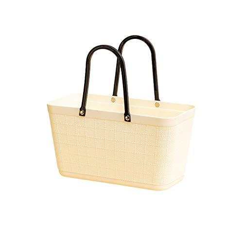 SKK Cesta Picnic Cesta de Picnic PP Portátil PP Compras de Plástico Bolsas de Comestibles Easy Storage para Compras de Viaje Camping Bolsa Nevera (Color : White)