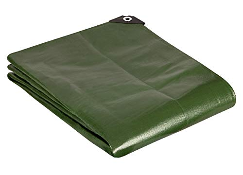 GardenMate 5x6m / 16ftx20ft Tarpaulin Waterproof Heavy Duty - Green tarp Sheet - Premium Quality Cover Made of 200gram/square metre Tarpaulin