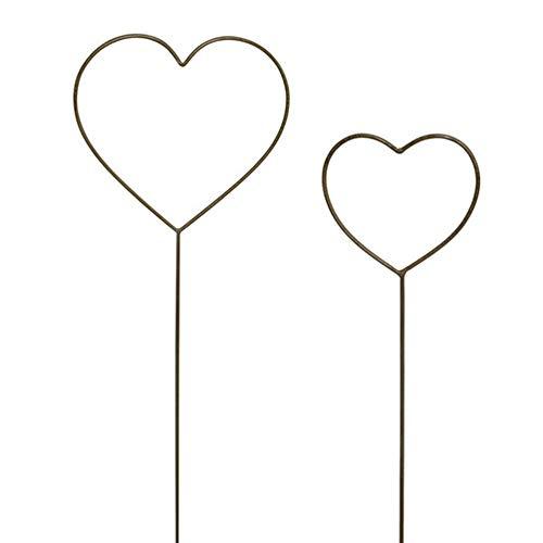 Gartenzaubereien Herz 2er Set zum Stecken, Rankhilfe, Hochzeit, Metall, Deko, Rost, Liebe