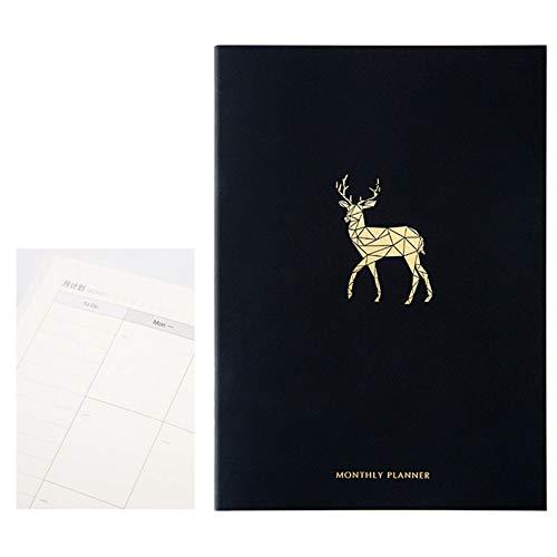 zhichy Planificador de cuadernos de cuaderno organizador de 365 días de plan, agenda mensual semanal, bloc de notas, papelería, suministros escolares
