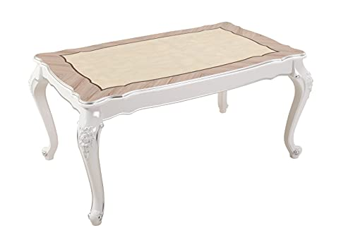 Mesa de comedor de cocina, color blanco, aluminio y plata roble brillante, ancho 150 cm