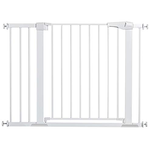 "KingSo 43.3"" Auto Close Safety Baby Gate Extra Wide Child Gate for Stairs Doorways Easy Walk Thru Durable Dog Gate for House Fits 37.8""-43.3"". Include 4 Pressure Bolts, 2.75"" & 8.25"" Extension, White"
