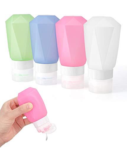 Rhino Valley Bottiglie da Viaggio in Silicone,4X 100ml Flaconi Portatili da Viaggio, Contenitori Multifunzione per Shampoo Balsamo Lozione, per Viaggio in Aereo, Senza BPA - Verde+Blu+Rosa+Trasparente