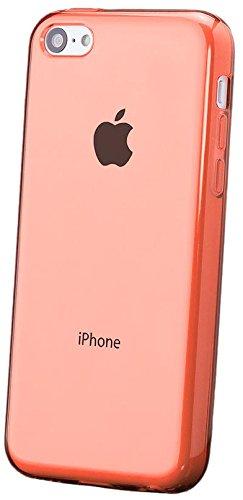 Apple iPhone 5C | iCues transparente TPU naranja | Transparente lámina protectora caso de la piel Claro Claro gel de silicona transparente de protección [protector de pantalla, incluyendo] Cubierta Cubierta Funda Carcasa Bolsa Cover Case
