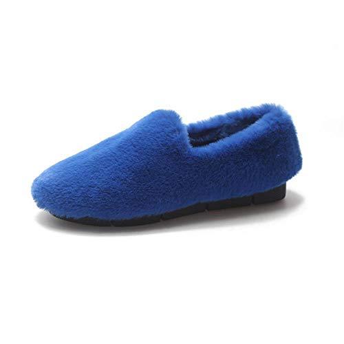 Nyrgyn Winterschuhe Aus Baumwolle Mit Flachem Boden Wilde Warme Anti-Skischuhe Lazy-Schuhe, Blau, 39