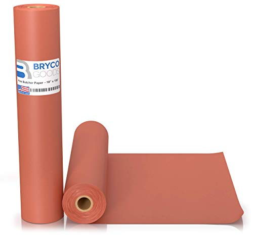 Pink Kraft Butcher Paper Roll - 18 Inch x 100 Feet (1200 Inch) - Food Grade Peach Wrapping Paper for Smoking Meat of all Varieties – Unbleached, Unwaxed and Uncoated - Made in USA