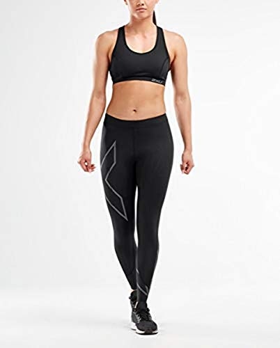 2XU MCS Run - Mallas de compresión para Mujer Wa5332b, Mujer, Ceñidos, 9336340739609, Negro y Negro Reflectante, L