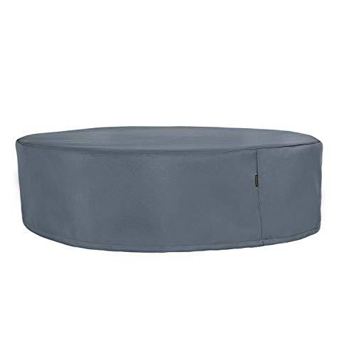 Hentex Cover Garten Whirlpool Abdeckung, Round Pool Cover, Schutz vor Wind UV schützende (Grau (200X85H cm)