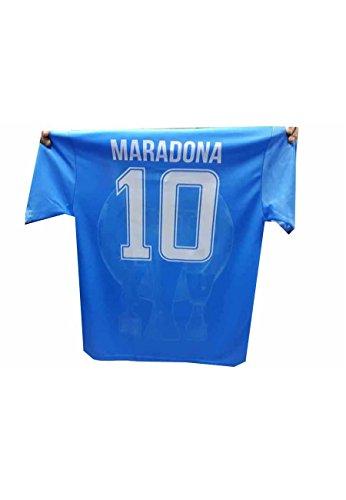 New t-Shirt Maglia Azzurra Stampata Mars ricordo Napoli Maglietta Maradona Omaggio amuleto corni (L Adulto)