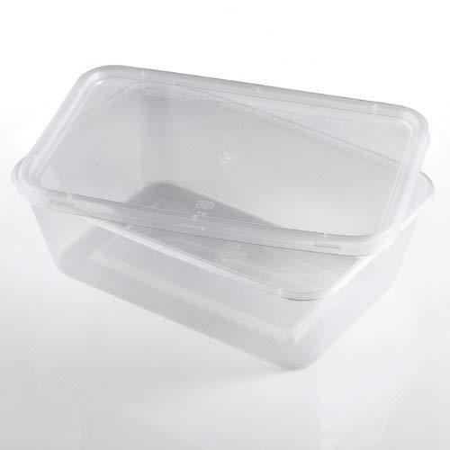 Lot de 50 contenants et couvercles en plastique recyclables de 500 ml - Passent au micro-ondes et au congélateur - Sans BPA