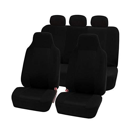 GUOCU Classic Universal Autositzbezüge Schonbezüge Vordersitze und Rücksitze mit Kopfstützenbezügen Schwarz 7 Stück