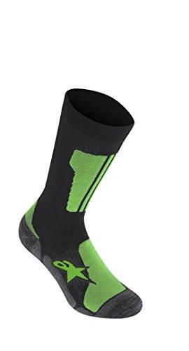 Alpinestars Herren Crew-Socken, klein, Schwarz Hellgrün