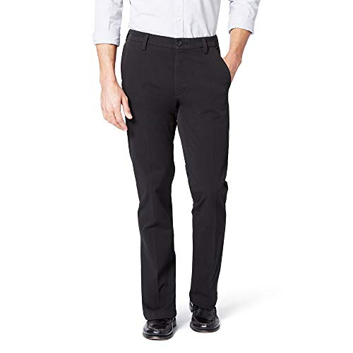 Dockers Mens Slim Fit Workday Khaki Smart 360 Flex Pants, Black (Stretch), 33W x 32L