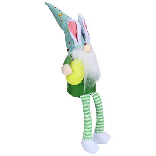 Ostern Gnome Ornamente, Plüsch gestrickt gesichtslose Puppe Dekorationen mit langen Beinen,(Green Rudolph with long legs)