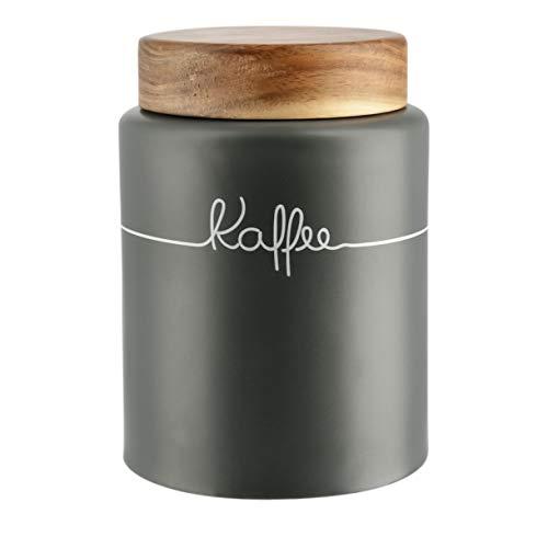 KHG Kaffeedose luftdicht Vorratsdose Keramik grau anthrazit Aufbewahrungsdose Holz-Decke Kaffee