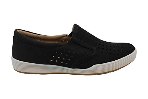 Comfortiva Womens Lyra Closed Toe Boat Shoes, Black, Size 7.0