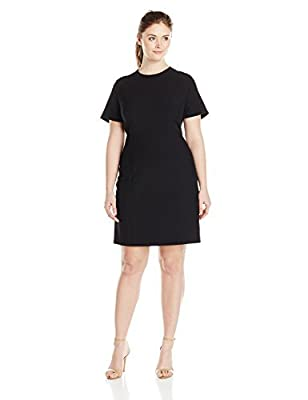 Lark & Ro Women's Plus Size Modern Stretch Cap Sleeve Fit and Flare Dress