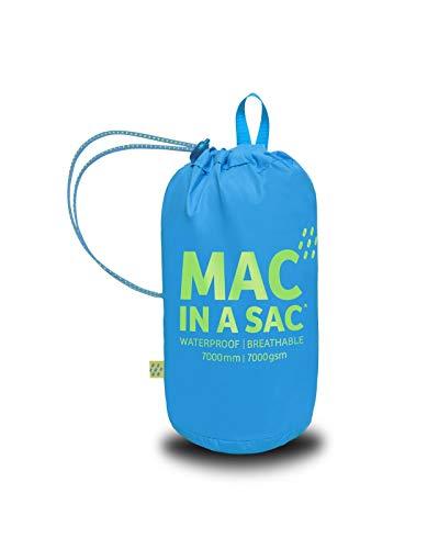 Mac in a Sac New Neon - Unisex Regenjacke - wasserdicht - mit Tasche zum Verstauen - Neonfarben - Neonblau - L