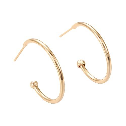 Benecreat - 6 pares de pendientes chapados en oro de 18 K de media aro, redondos para la fabricación de joyas de bricolaje