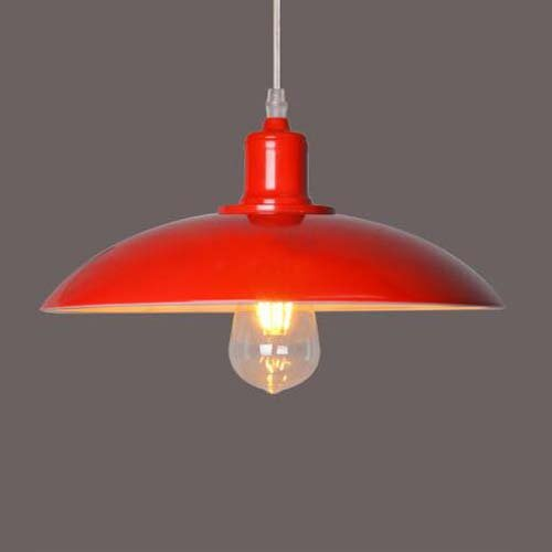 BAYCHEER Lustre E27 Métal Suspension Abat-jour Luminaire Design Plafonnier Industriel Rétro Eclairage Decoratif -Rouge