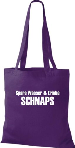 Stoffbeutel SPARE WASSER & TRINKE SCHNAPS Baumwolltasche, Beutel, Umhängetasche, Farbe lila