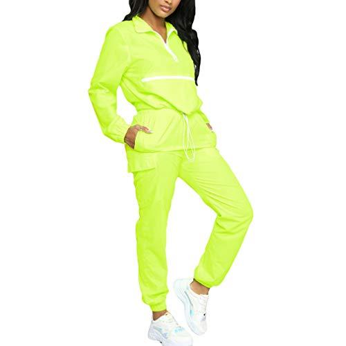 qiansu Frauen Zip Rollkragen Langarm Top Kurze Safari Lange Gerade Hosen Anzüge Zweiteiler Sportwear Trainingsanzug Neon Outfit