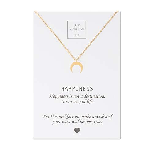LUUK LIFESTYLE Edelstahl Halskette mit Mond Anhänger und Happiness Spruchkarte, Glücksbringer, Damen Schmuck, gold