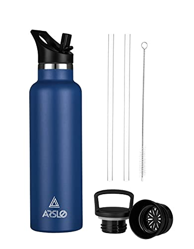 Arslo Stainless Steel Double Wall Water Bottle, Vacuum Insulated Bottle With Straw Lid, Insulated Water Bottle Keeps Water Cold for 24 Hours, Hiking, Sports, Outdoor, 20 oz, Blue