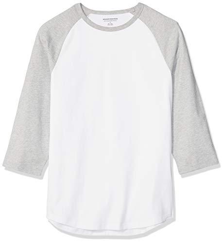 Amazon Essentials - Camiseta de béisbol para hombre (manga 3/4), Gris jaspeado claro/ blanco, US S (EU S)