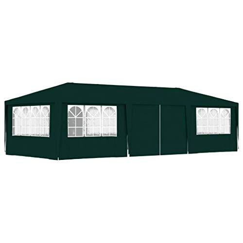 vidaXL Carpa Profesional para Fiestas con Paredes Sombrilla Exterior Solar Pabellón Cubre Impermeable Tienda Aire Libre Camping Quiosco Verde