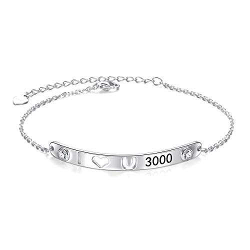 Echt 925 Sterling Silber Bar Armbänder mit Nachricht Ich Liebe Dich 3000 für Damen Mädchen Teens Eisen Fans Geschenke Familie Liebe Manschette Armband Freundschaft Mantra Schmuck (I Love You 3000)
