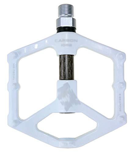 VNIUBI Pedales de Bicicleta Ligero 0.732lb / par Antideslizante CR-Mo Aluminio CNC Sellado Ball Bearing, 3 Pedales de rodamiento Pedales de Bicicleta para MTB BMX con Llave(White)