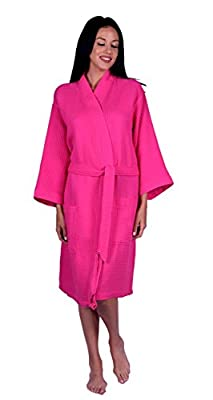 Women's Waffle Weave Kimono Robe, 100% Turkish Natural Soft Cotton, Made in TURKEY