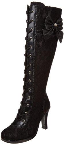 Demonia Damen GLAM-240 Kurzschaft Stiefel, Schwarz (Schwarz (Blk Vegan Leather-Blk Lace Overlay), 39 EU