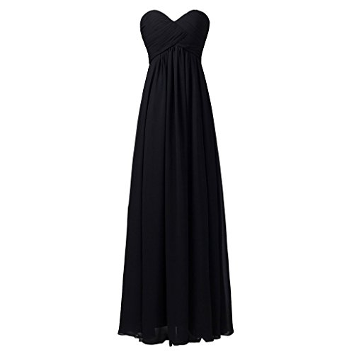 Lemai Women's A Line Corset Long Sweetheart Pleats Bridesmaid Dress 24W Black