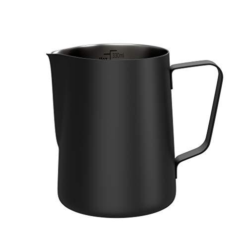 BonVivo Muvo Milchkännchen aus Edelstahl im schwarzen Look, 330 ml Milk Jug für optimalen Milchgenuss, Milchkanne für Cappuccino mit praktischer Skala, Milchschaum Kännchen und Espresso Kännchen