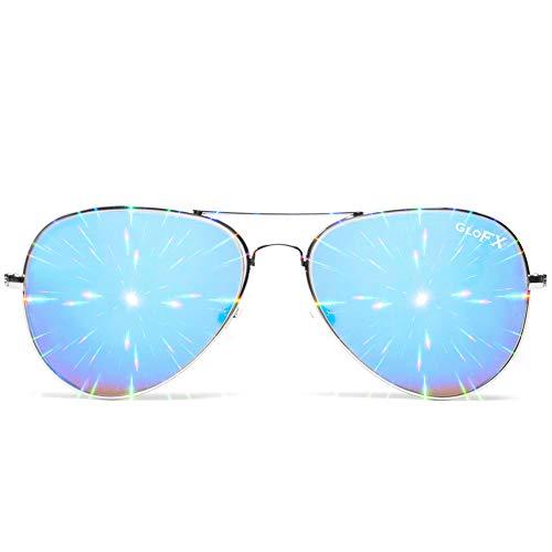 GloFX Diffraction Pilot Aviator Style Metal Glasses – Blue Mirror - 3D Prism Firework Grating