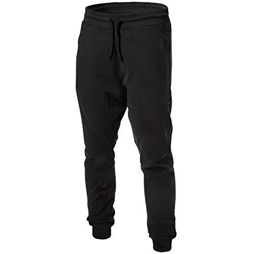 LeerKing Herren Hosen mit Fleece Jogginghosen Lange Beine Tapered Trainingshose Freizeithose Polyesterhose für Jungen und Herren Schwarz L