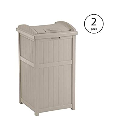 Suncast 30-33 Gallon Deck Patio Resin Garbage Trash Can Hideaway, Taupe (2 Pack)