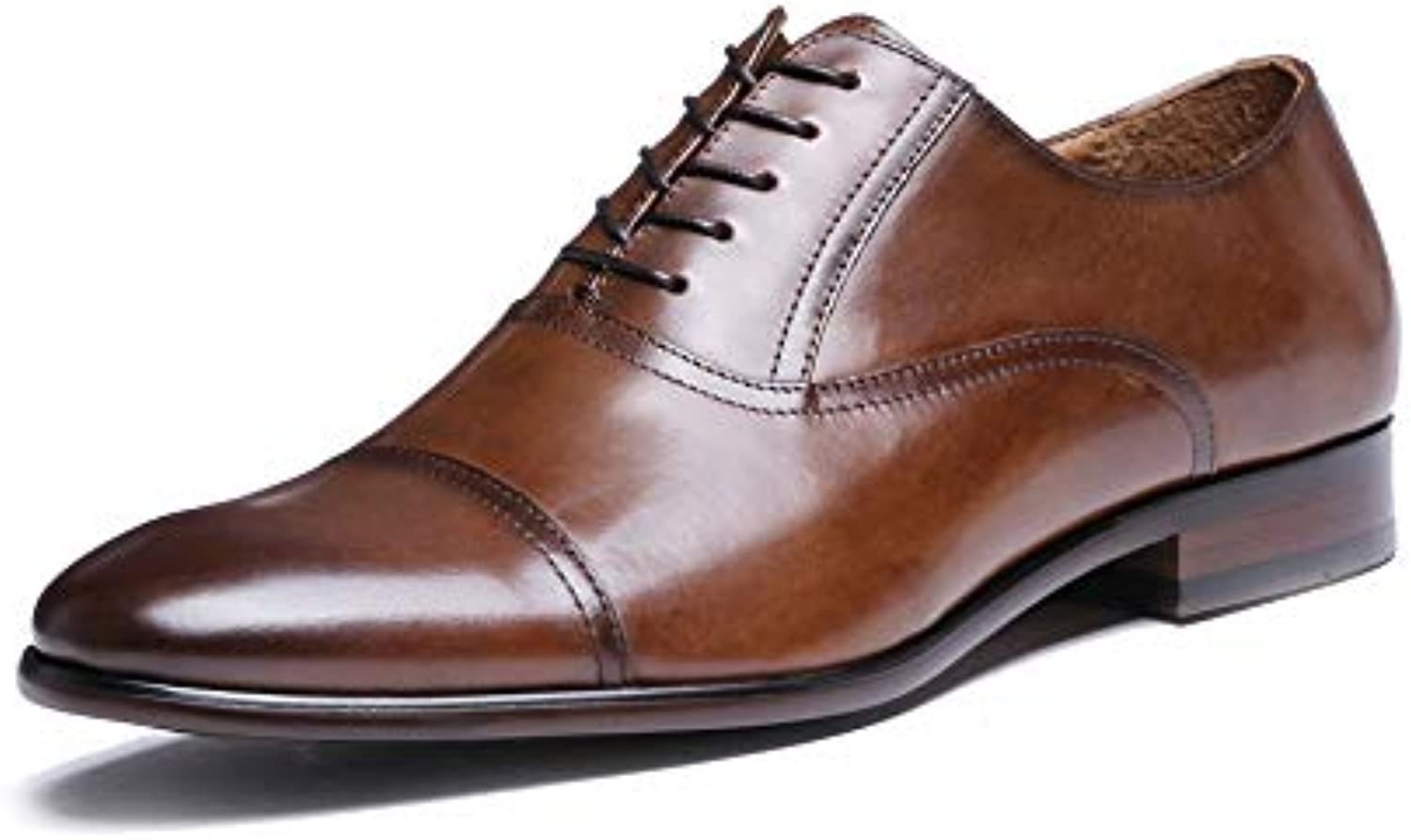 XZP Leather Business Full Grain Dress shoes Retro Patent Leather Oxford shoes For Men (color   Brown, Size   45-EU)