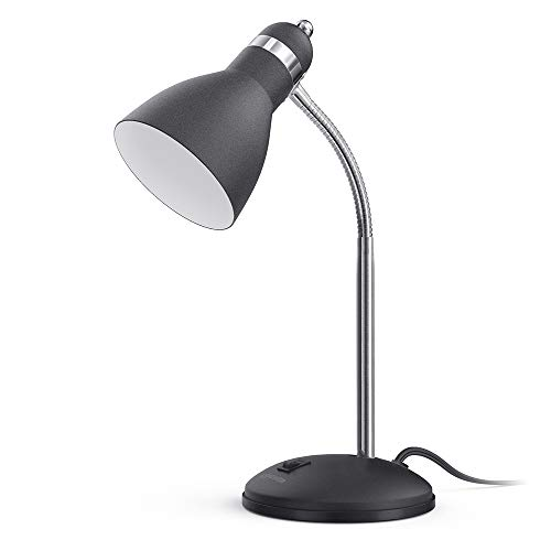 LEPOWER Metal Desk Lamp EyeCaring Table Lamp Study Lamps with Flexible Goose Neck for Bedroom and Office Sandy Black