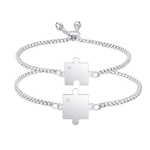 Juego de 2 pulseras para parejas, pulseras de pareja, pulseras de amantes, pulseras de plata, regalos para Navidad, San Valentín, regalos para parejas (Typ2)