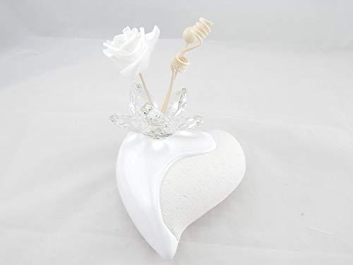 Digiglio Bomboniere Bombonera perfumadora cerámica con corazones grandes con pétalos de cristal